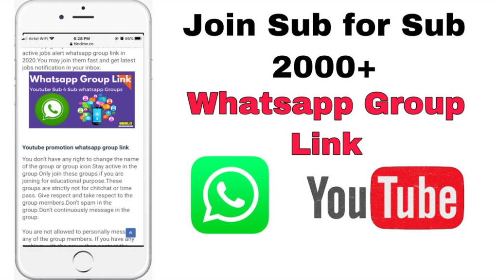 Sub for Sub WhatsApp Group Link for Youtubers: